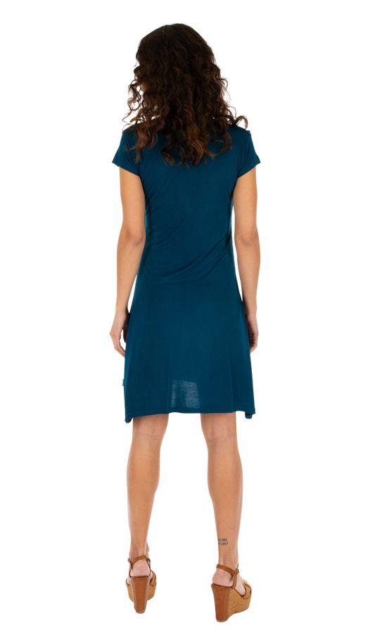 Robe d'été pour femme ethnique et colorée Jimma bleue 314223