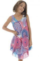 Robe d'été rose et bleue pour fille Originale et Gaie Marie-Odile 295796
