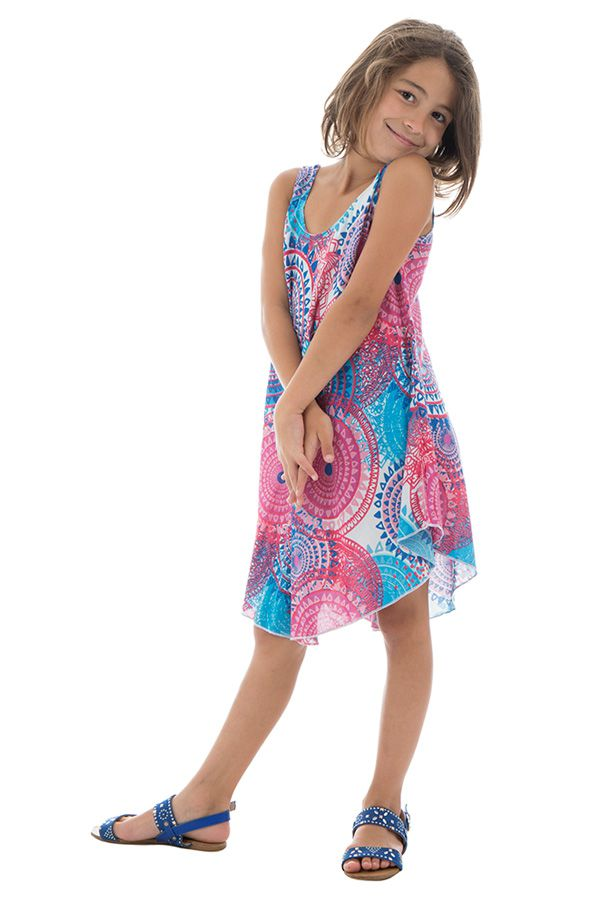 Robe d'été rose et bleue pour fille Originale et Gaie Marie-Odile 295797