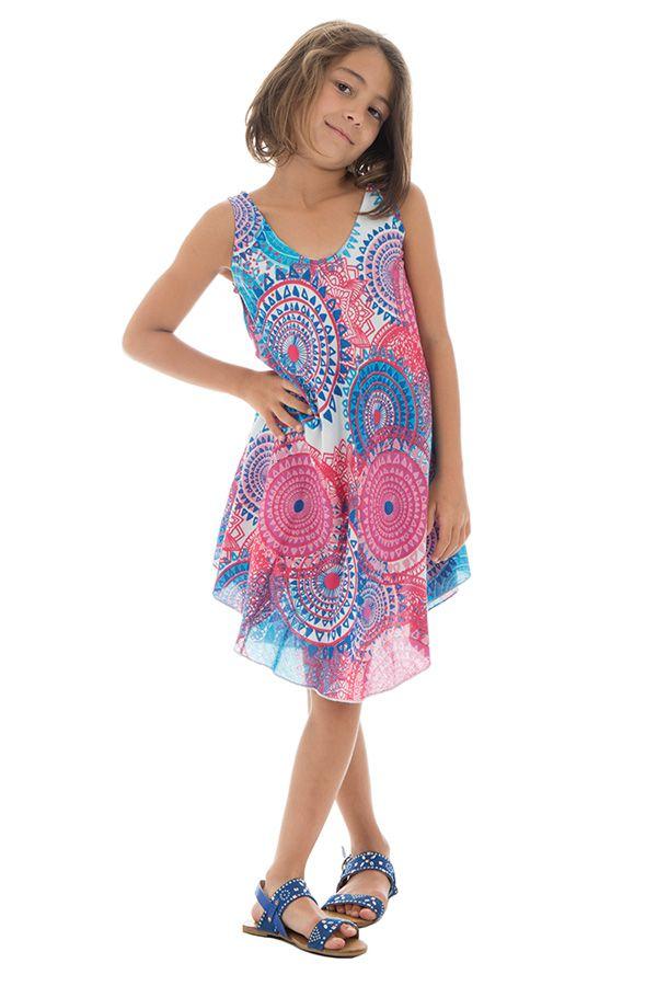 Robe d'été rose et bleue pour fille Originale et Gaie Marie-Odile 295798