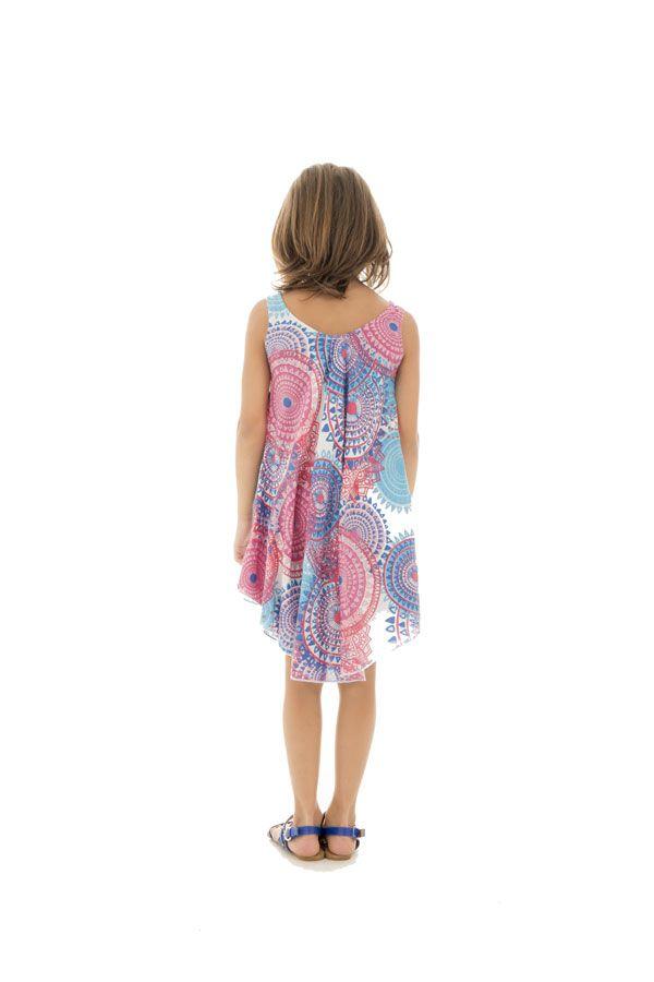 Robe d'été rose et bleue pour fille Originale et Gaie Marie-Odile 295799