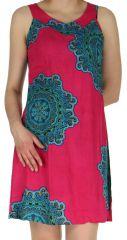 Robe d'été Rose Originale et Colorée sans manches Aude 282505