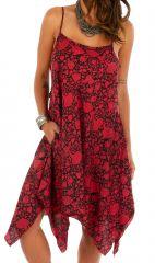 Robe d'été rouge asymétrique idéale pour la plage Dena 307025