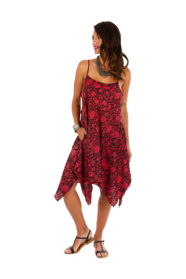 Robe d'été rouge asymétrique idéale pour la plage Dena 307026