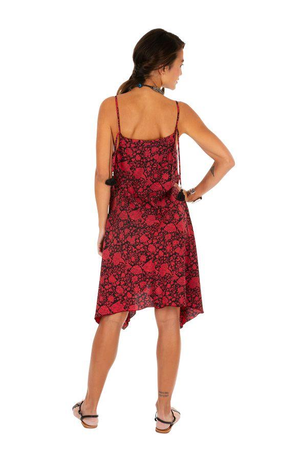 Robe d'été rouge asymétrique idéale pour la plage Dena 307027