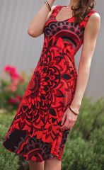 Robe d'été Rouge Colorée et sans manches Originale Candice 282133