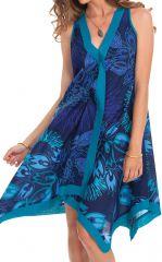 Robe d'été sans manches Asymétrique et Colorée Paule Bleue 281936