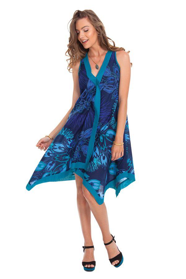 Robe d'été sans manches Asymétrique et Colorée Paule Bleue 281937