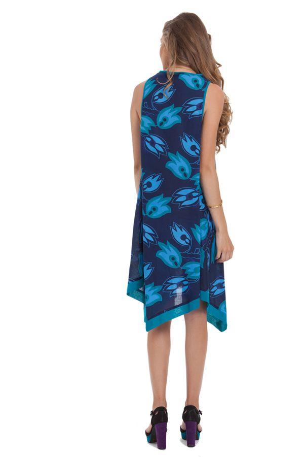 Robe d'été sans manches Asymétrique et Colorée Paule Bleue 281938