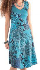 Robe d'été sans manches Bleue Colorée et Originale Candice 282130