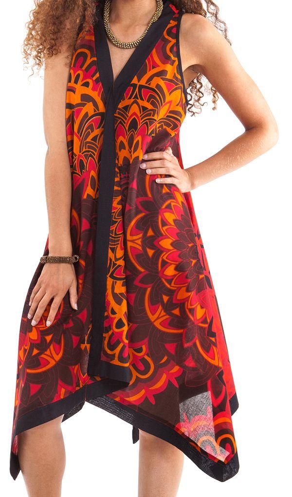 robe d ete sans manches orange asymetrique et originale paule. Black Bedroom Furniture Sets. Home Design Ideas