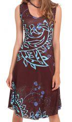 Robe d'été sans manches Originale et Colorée Candice Marron 282124
