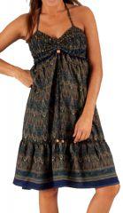 Robe d'été très agréable Ethnique à motifs Batiks Adrika Bleue Foncée 283301