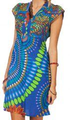 Robe d'été très colorée Chic et Ethnique Noulane Bleue 283601