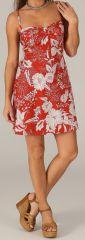 Robe d'été très Féminine et Originale Salomé Rouge et Blanche 279432