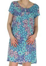 Robe d'été très légère Imprimée et Colorée Genevy Bleue 285071