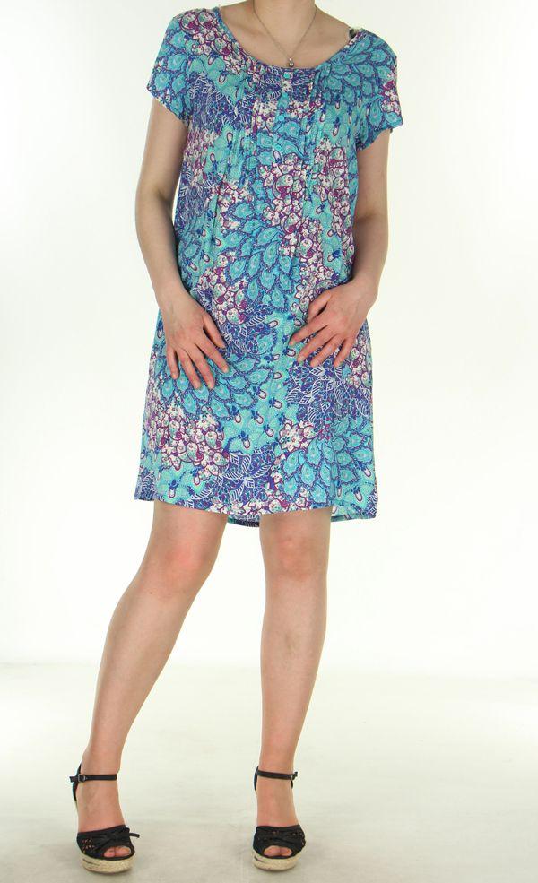 Robe d'été très légère Imprimée et Colorée Genevy Bleue 285072