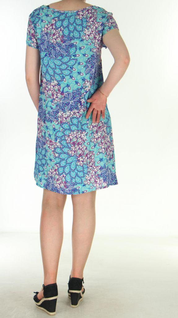 Robe d'été très légère Imprimée et Colorée Genevy Bleue 285073