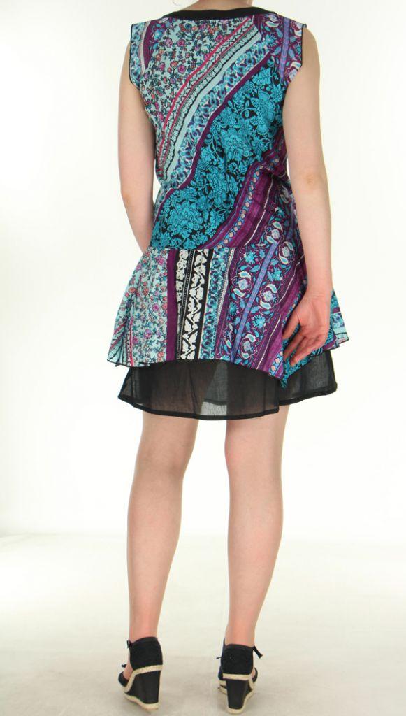 robe d ete turquoise ethnique et fantaisie en voile de coton aurelia. Black Bedroom Furniture Sets. Home Design Ideas