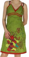 Robe d'été Verte Ethnique et Originale à fines bretelles Liliane 282641
