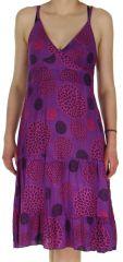 Robe d'été Violette à fines bretelles Ethnique et Colorée Lucie 279238