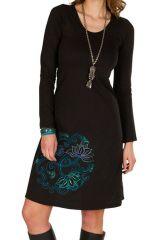 Robe d'hiver à manches longues et mandala floral Noire Pelisio 298830
