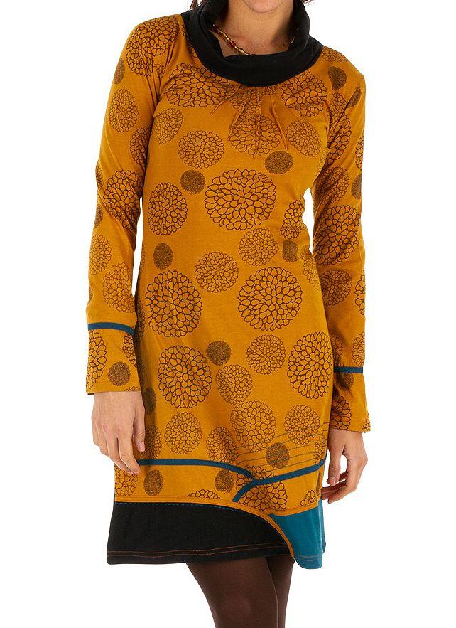 Robe d'hiver à tendance ethnique et colorée Minna jaune 313422