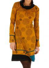 Robe d'hiver à tendance ethnique et colorée Minna moutarde 313422