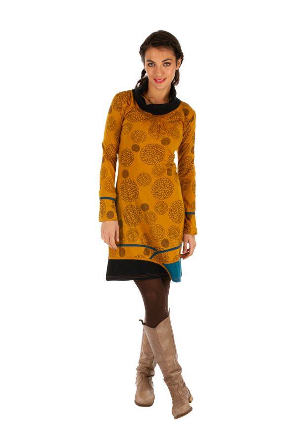 Robe d'hiver à tendance ethnique et colorée Minna moutarde 313423