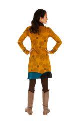 Robe d'hiver à tendance ethnique et colorée Minna moutarde 313424