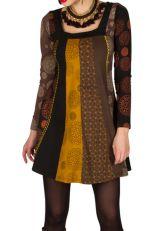 Robe d'hiver colorée en coton à manches longues et col carré Dalila 298733