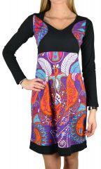 Robe d'hiver colorée en coton à manches longues Lili 304524