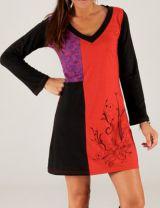 Robe d'hiver courte à col en V et Ethnique Estania Rouge et Noire 279683