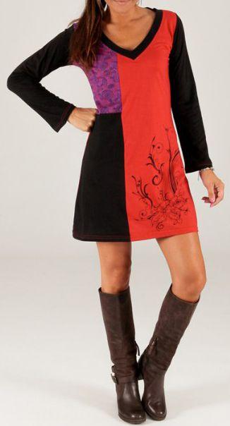 Robe d'hiver courte à col en V et Ethnique Estania Rouge et Noire 279684