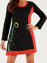 Robe d'hiver courte à manches longues Ethnique et Noire Lauraleen 279673