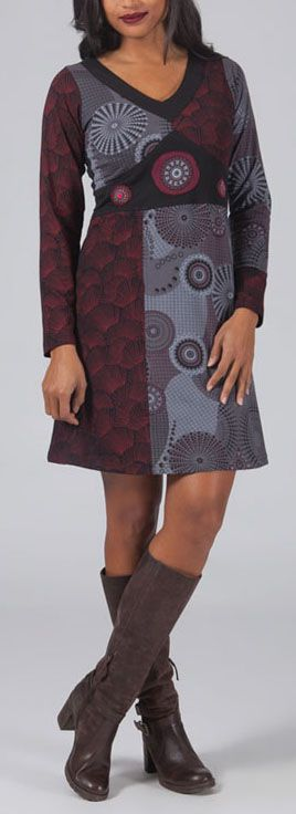 Robe d\'hiver courte col en V ethnique et originale Afifa