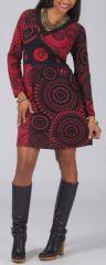 Robe d'hiver courte col en V ethnique et originale Amana 274093