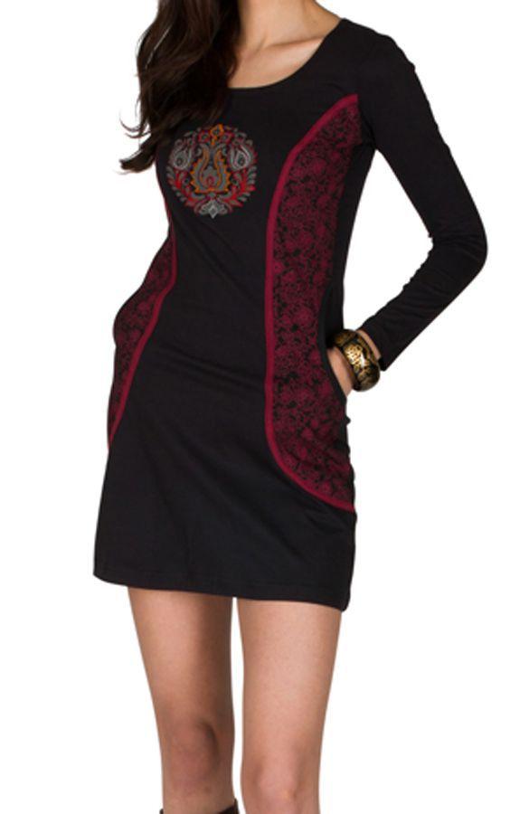 Robe d'hiver courte imprimée à manches longues et col rond noire Perlina 298629