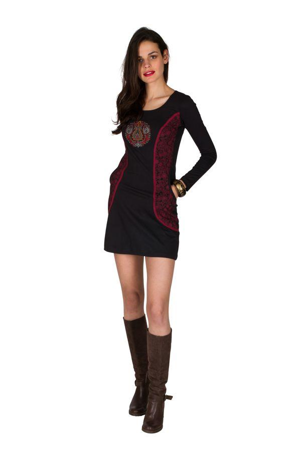 Robe d'hiver courte imprimée à manches longues et col rond noire Perlina 298630