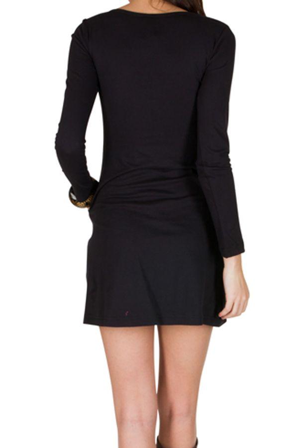 Robe d'hiver courte imprimée à manches longues et col rond noire Perlina 298631