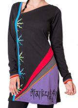 Robe d'hiver courte Originale et Colorée Shanon Noire 279085