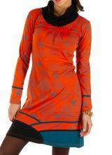 Robe d'hiver ethnique aux couleurs gaies Minna orange 313425