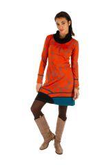 Robe d'hiver ethnique aux couleurs gaies Minna orange 313426