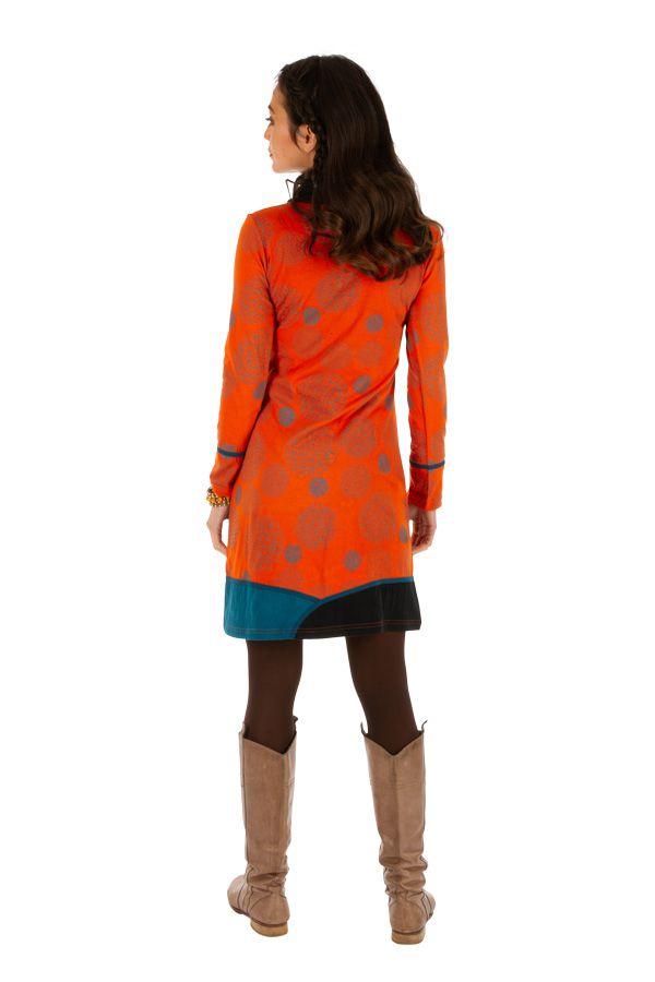 Robe d'hiver ethnique aux couleurs gaies Minna orange 313427