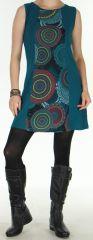 Robe d'Hiver Ethnique et Colorée sans manches  Sawsen Emeraude 276069