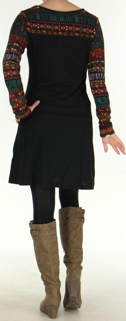 Robe d'hiver Ethnique et Originale à manches longues  Salayine Noire 276060