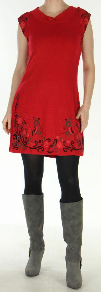 Robe d'hiver Ethnique et Originale sans manches Maryline Rouge 278738
