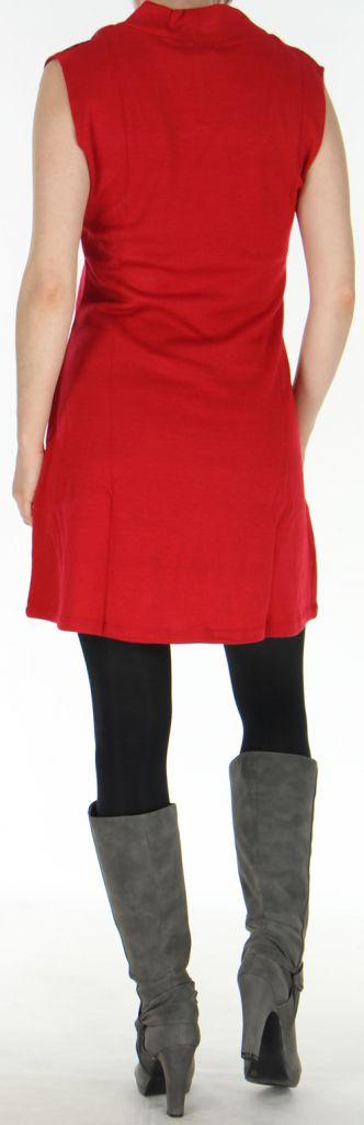 Robe d'hiver Ethnique et Originale sans manches Maryline Rouge 278739