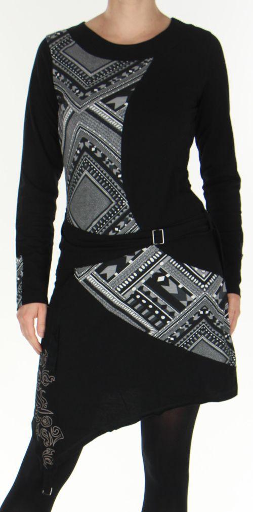 Robe d'hiver Ethnique et Originale transformable Asymia Noire 277930