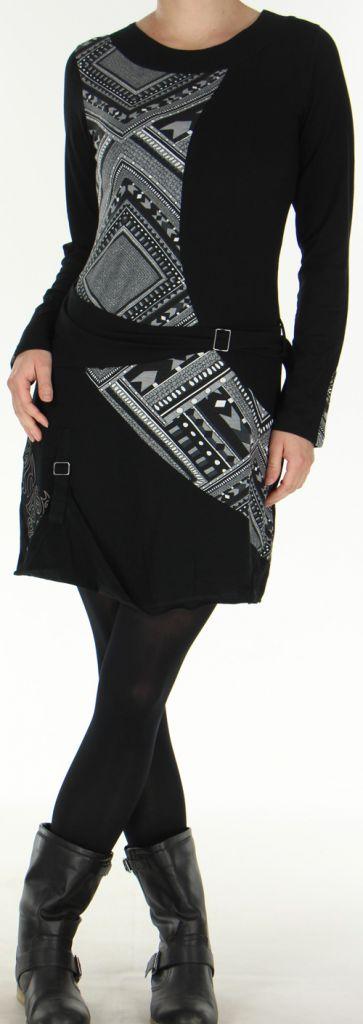 Robe d'hiver Ethnique et Originale transformable Asymia Noire 277931